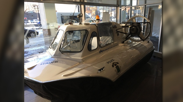 A hovercraft, used briefly by the Winnipeg Police Service in 1971, is one of many vehicles on display at the Winnipeg Police Museum. The musem contains cars, weapons, badges and other memorabilia dating back more than a century.THE CANADIAN PRESS/Steve Lambert