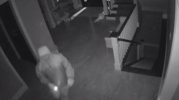 This surveillance image shows a break-in in progress in Kitchener's Deer Ridge neighbourhood. (Waterloo Regional Police)
