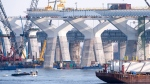 Construction of the new Champlain Bridge is shown in this file photo from Monday, December 4, 2017 in Montreal. (THE CANADIAN PRESS/Paul Chiasson)