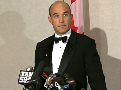 Jim Balsillie, Co-CEO of Research In Motion, speaks to reports about his bid to buy the Phoenix Coyotes in Toronto, on Tuesday, May 5, 2009.