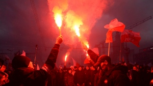 Thousands of nationalists marched in Warsaw on Poland's Independence Day holiday, taking part in an event that was organized by far-right groups on Saturday, Nov. 11, 2017. (AP Photo/Czarek Sokolowski)