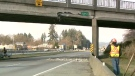 Damage to a Highway 99 overpass is seen in Surrey, B.C.