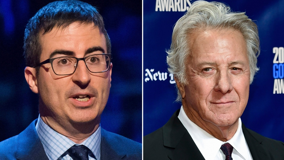 In this combination photo, John Oliver appears at the Stand Up for Heroes event in New York on Feb. 28, 2015, left, and actor Dustin Hoffman attends the 27th annual Independent Film Project's Gotham Awards in New York on Nov. 27, 2017. (Photos by Charles Sykes, left, and Evan Agostini/Invision/AP)