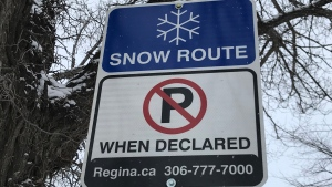 A snow route sign is seen in Regina, Sask. (Colton Wiens / CTV Regina)