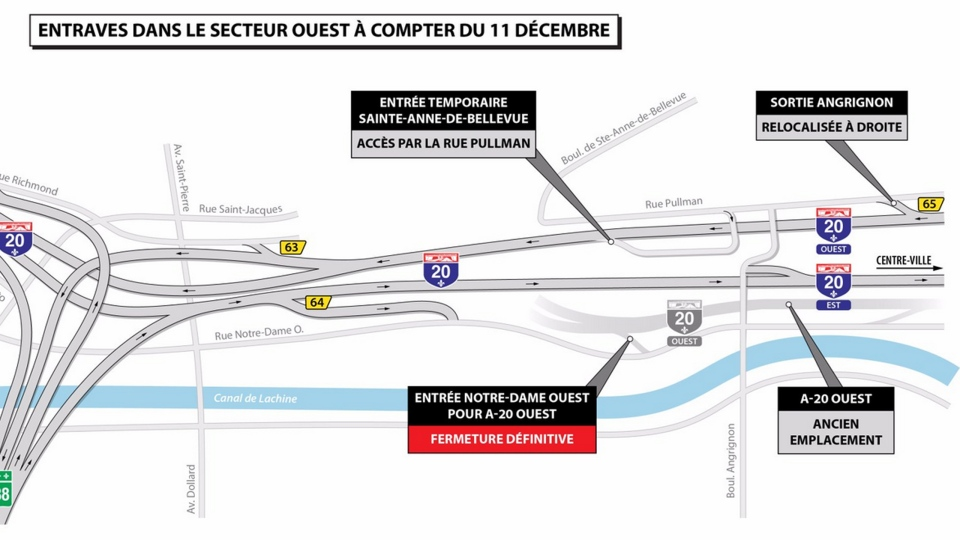 The Angrignon Interchange gets reconfigured as of Monday Dec. 11, 2017