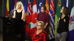 Members of the Thalidomide Survivors Task Group hold a news conference on Parliament Hill, in Ottawa, Tuesday, December 5, 2017. From left to right are Fiona Sampson, Mary Ryder, Lee Ann Dalling and Alexandra Niblock.(THE CANADIAN PRESS/Fred Chartrand)