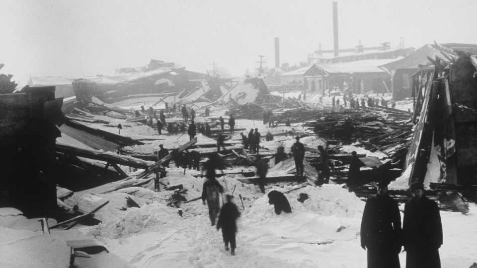 The aftermath of the 1917 Halifax ship explosion is shown in a file photo. (THE CANADIAN PRESS/National Archives of Canada)