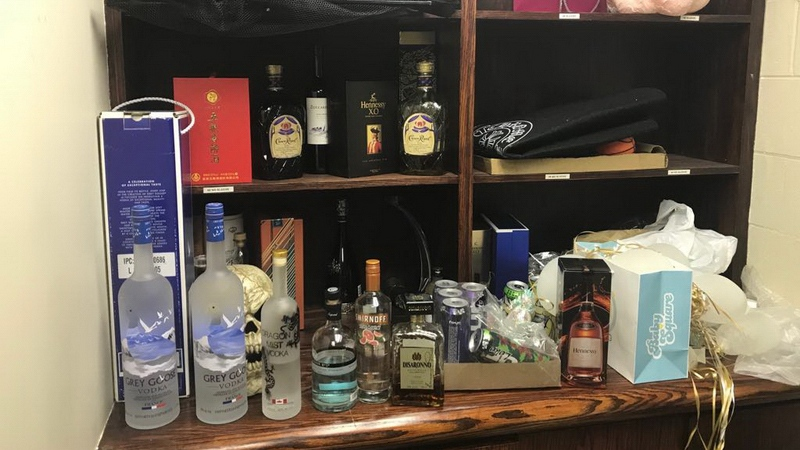Liquor bottles are seen at an illegal booze operation in Richmond, B.C.