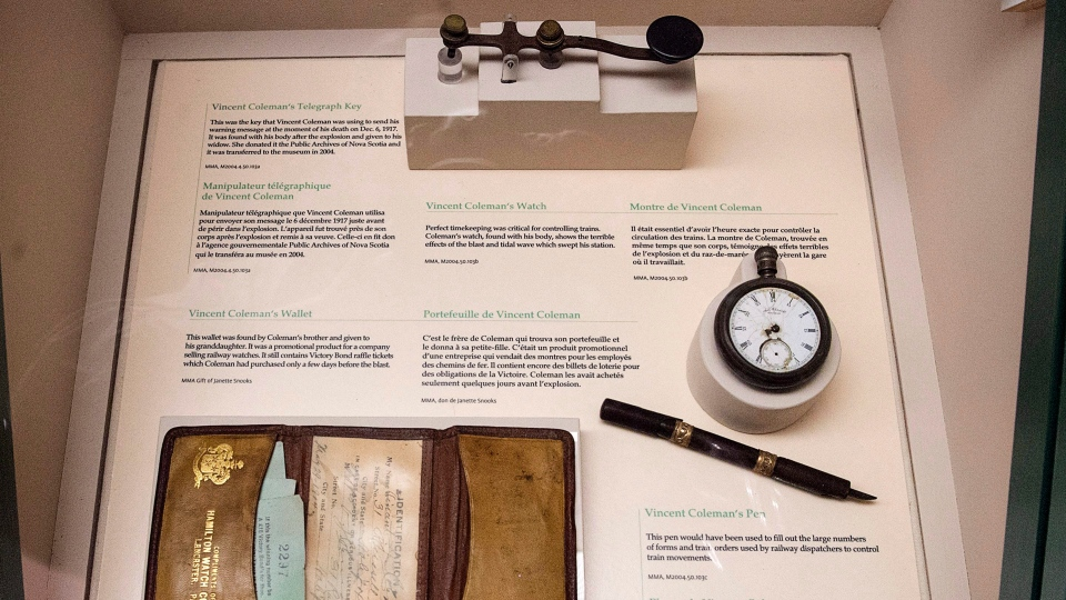 Articles belonging to telegraph operator Vince Coleman are among the artifacts from the Halifax Explosion displayed at the Maritime Museum of Atlantic in Halifax on Friday, June 23, 2017. THE CANADIAN PRESS/Andrew Vaughan
