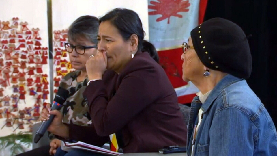 Michele Audette, a commissioner with the inquiry into missing and murdered Indigenous women and girls, fought back tears during a hearing in Thunder Bay, Ont. on Tuesday, Dec. 5, 2017.