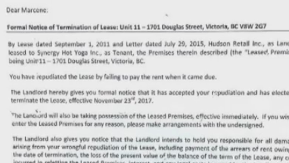 A notice of unpaid rent was posted on the door of Hudson Yoga in downtown Victoria Nov. 23, 2017. (Facebook)