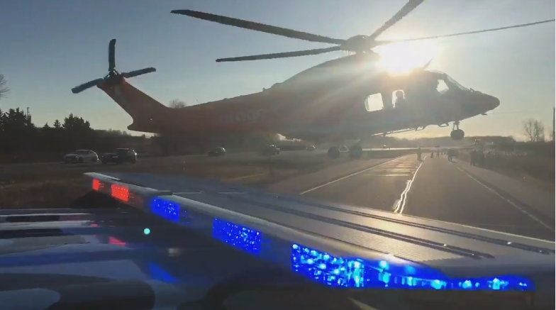 One person was airlifted to hospital after multi-vehicle crash on Highway 402 in Middlesex County on Wednesday, Dec. 6, 2017. (Courtesy OPP)