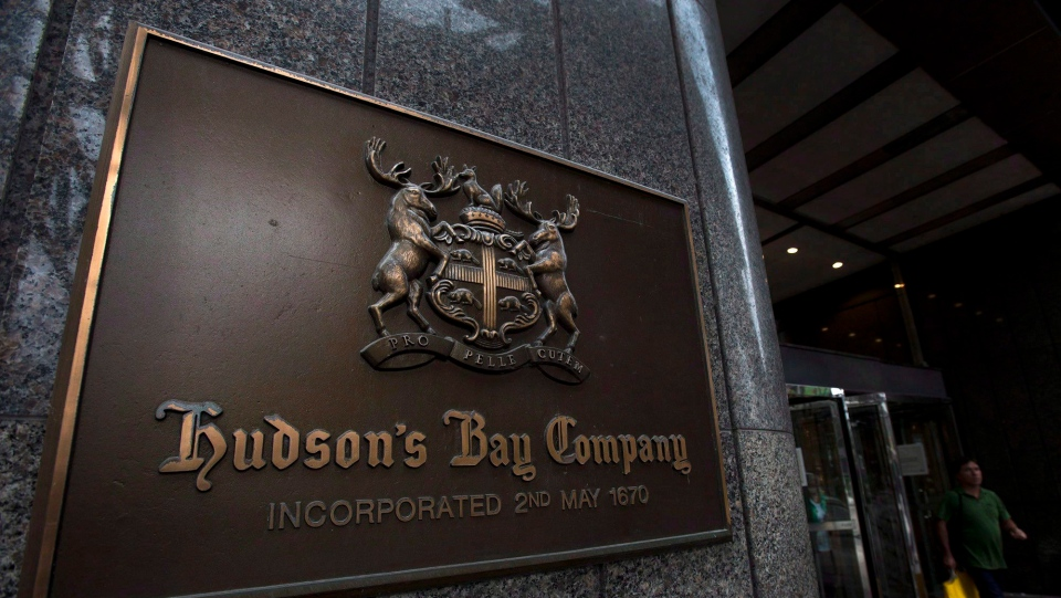 A Hudson's Bay Co. store sign is shown in Toronto on Monday, July 29, 2013. (THE CANADIAN PRESS/Nathan Denette)