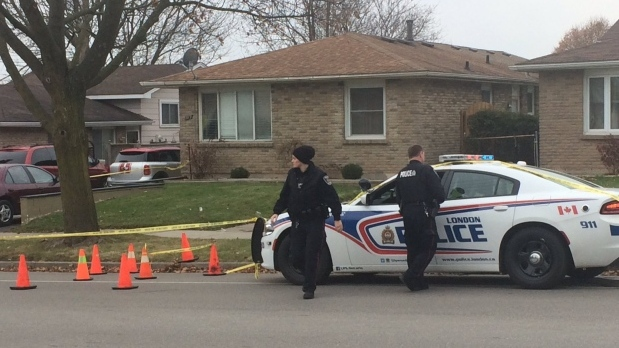 London police and forensics are on scene at 789 Nixon Ave. on Saturday, Dec. 2, 2017 following a shooting. (Brent Lale / CTV London)