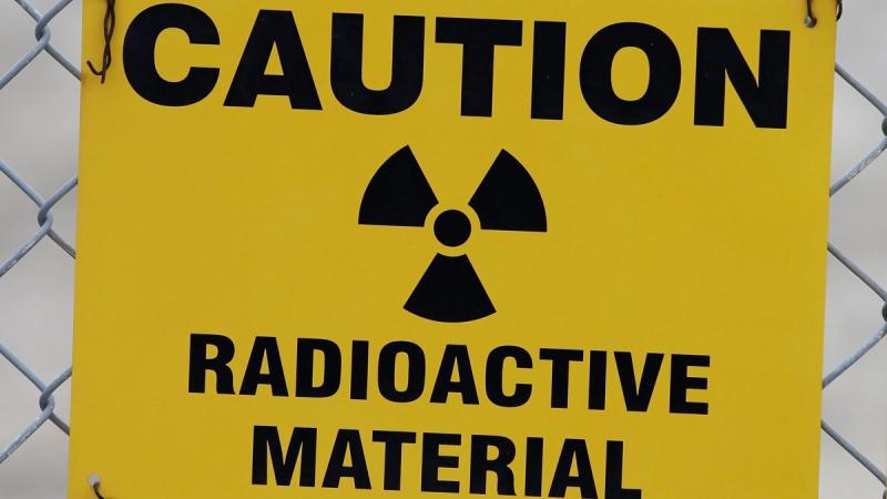 Sign warns of radioactive material. (Rick Bowmer / AP)