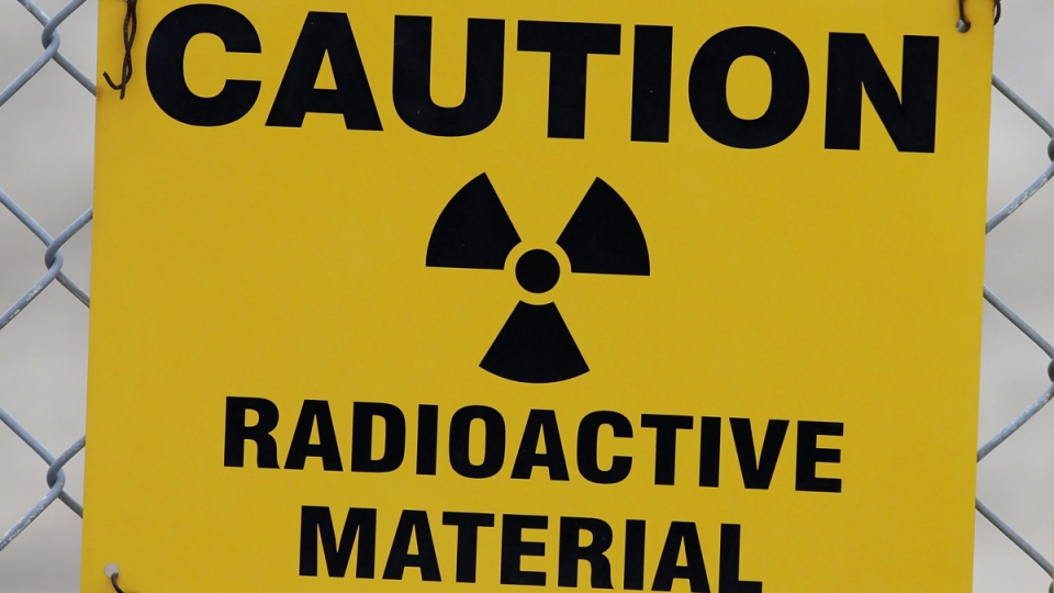 Sign warns of radioactive material