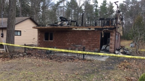 Cottage fire in Tiny Township