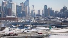 Calgary highway traffic and skyline