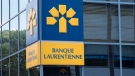 The Banque Laurentienne or Laurentian Bank logo is pictured, in Montreal, on Tuesday, June 21, 2016. (THE CANADIAN PRESS/Paul Chiasson)