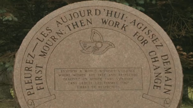 This monument in Riverview, N.B., delivers the message  in just six words: First mourn, then work for change.
