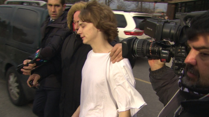 Tyler Neilsen is seen outside of a Newmarket courthouse.
