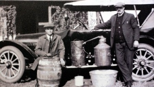 A photograph of a moonshine still