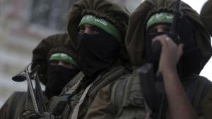 Masked Hamas gunmen in Beit Hanoun, Gaza Strip