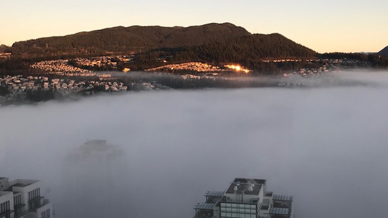 The view above the fog line is seen in this image captured from the 45th floor of the M3 condo building in Coquitlam, B.C. on Thursday, Dec. 7, 2017. (Sofia Janmohamed)