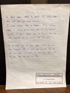Christopher Garnier letter