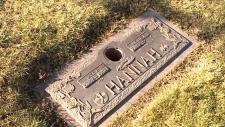 Grave marker for Lucille's husband, missing vase.