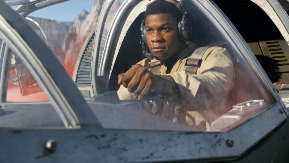 John Boyega as Finn in a scene from 'Star Wars: The Last Jedi' (Lucasfilm via AP)