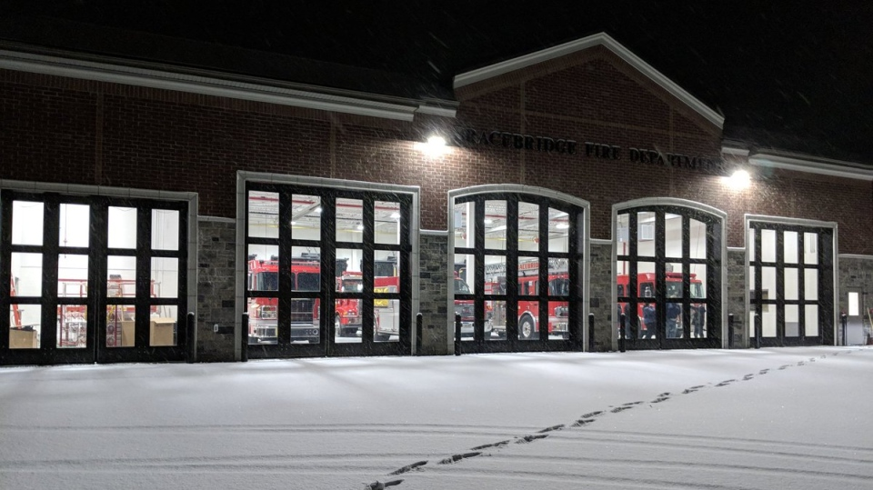 The new emergency services hub can be seen in Bracebridge, Ont. on Thursday, Dec. 7, 2017. (Graydon Smith/ Twitter)