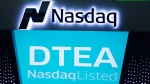 "DavidsTea is listing as ""DTEA"" at the Nasdaq MarketSite in New York on June 5, 2015. (THE CANADIAN PRESS / AP, Mark Lennihan)"