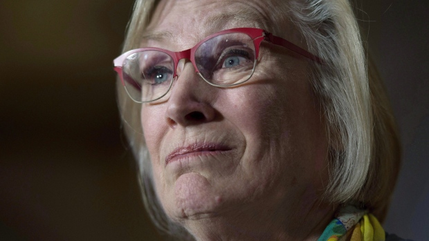 Crown-Indigenous Relations and Rorthern Affairs Minister Carolyn Bennett speaks during a news conference on Parliament Hill in Ottawa on October 6, 2017. (THE CANADIAN PRESS / Adrian Wyld)