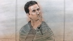Dale Burningsky King appears in court on a second-degree murder charge in the death of Yosif Al-Haswani. (Sketch by John Mantha)