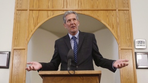 Manitoba Premier Brian Pallister responds to media after meeting with the Manitoba Islamic Association at the Grand Mosque in Winnipeg, Tuesday, January 31, 2017. (John Woods/THE CANADIAN PRESS)