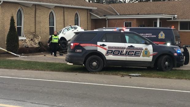 One person was killed when an SUV went airborne and hit a church on Fischer-Hallman Road in North Dumfries on Friday, Dec. 8, 2017. (Matt Harris / CTV Kitchener)