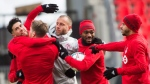 Toronto FC teammates joke around during practice ahead of the MLS Cup finals against the Seattle Sounders in Toronto on Friday, December 8, 2017. THE CANADIAN PRESS/Nathan Denette