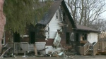 The Bomberry family's home in Ohsweken, Ont., seen after a devastating fire on Friday, Dec. 8, 2017. Three-year-old Tate Bomberry died on Friday after first responders found the toddler trapped under a bed inside the home. (CTV KItchener)
