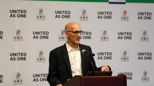 The executive director of the United 2026 bid, John Kristick, speaks. (Twitter / United 2026)