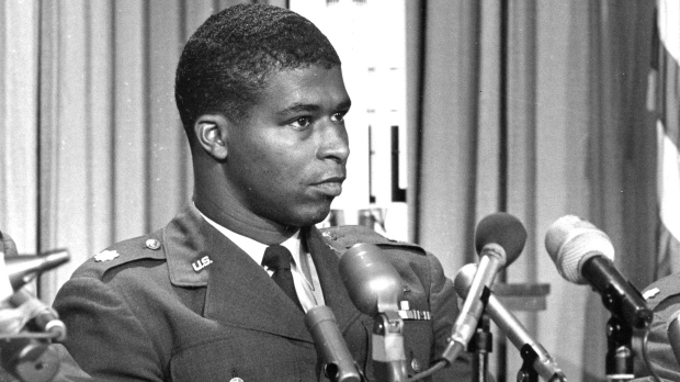 FILE - In this June 30, 1967 file photo, Maj. Robert H. Lawrence Jr., the first black astronaut in the U.S. space program, is introduced at a news conference in El Segundo, Calif. (AP Photo)