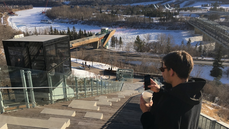 The funicular is the first of its kind in western Canada.