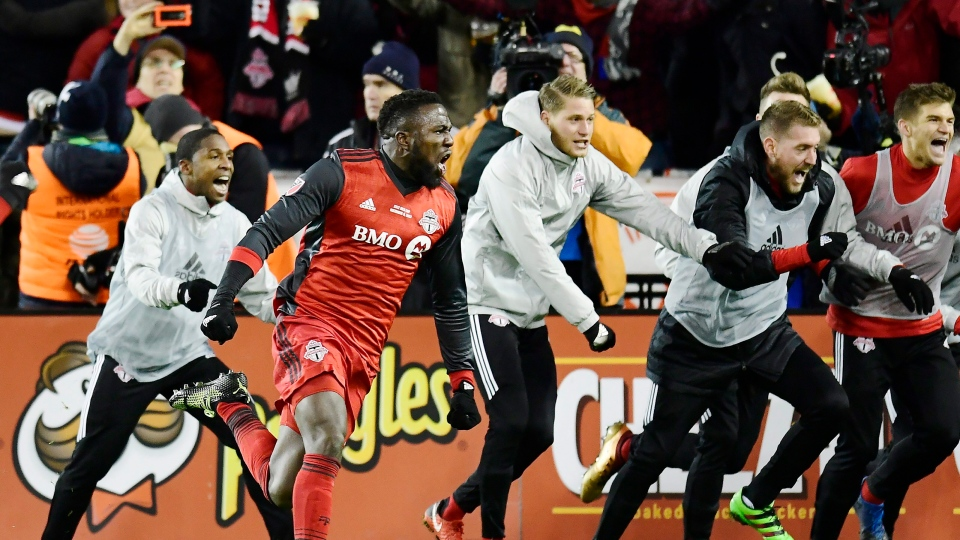 Toronto FC forward Jozy Altidore (17) celebrates his goal against the Seattle Sounders during second half MLS Cup Final soccer action in Toronto on Saturday, December 9, 2017. (THE CANADIAN PRESS / Frank Gunn)