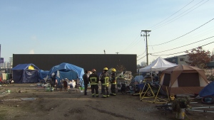 Firefighters arrived at the Powell Street homeless camp to put out hot spots, but it was quick work by people living at the camp that stopped the fire from causing major damage.