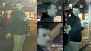 Toronto homicide investigators have released images of a suspect in the death of 22-year-old Tess Richey in the area of Church Street and Wellesley Street, on Nov. 25, 2017.