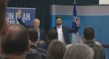 PQ leader Jean-Francois Lisee and Gouin candidate