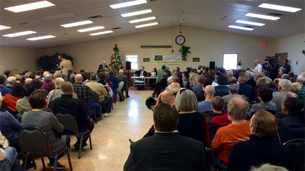The Braeside community hall was packed with people for the Calgary-Lougheed candidate debate on Sunday, December 10, 2017.