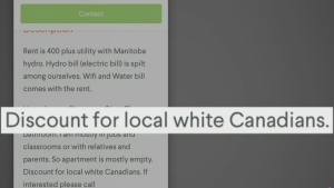 Ad online offers discount to 'white Canadians'