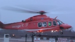 An Ornge air ambulance is pictured transporting a patient after a fatal head-on crash east of Peterborough Sunday December 10, 2017.