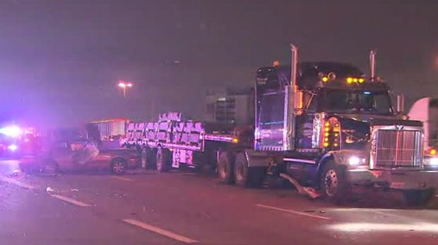 1 dead after crash between auto and transport truck on Hwy. 401